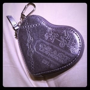 Coach Bags - Silver Coach leather heart keychain wallet